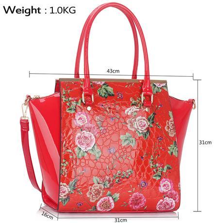 NOVINKA - květovaná kabelka, červená,