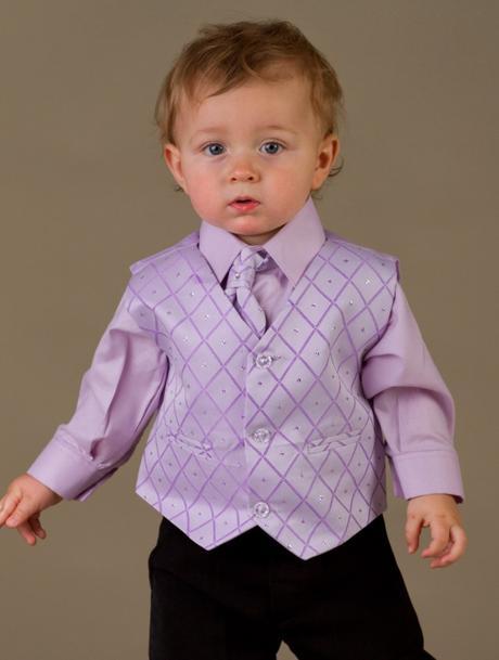 NOVINKA - lilla, světle fialový oblek, 68