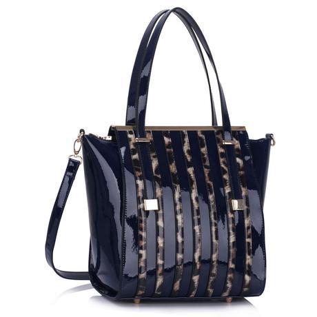 NOVINKA - modrá lakovaná kabelka s leopardím vzore,