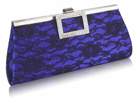 NOVINKA - modro-černé krajkové lodičky, kabelka, 36