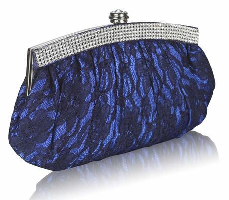 NOVINKA - modro-černé krajkové lodičky, kabelka, 37