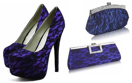 NOVINKA - modro-černé krajkové lodičky, kabelka, 40
