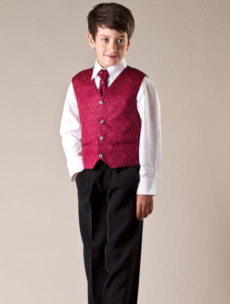 NOVINKA - oblek pro chlapce, burgundy, frak, 116