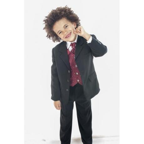 NOVINKA - oblek pro chlapce, burgundy, frak, 140