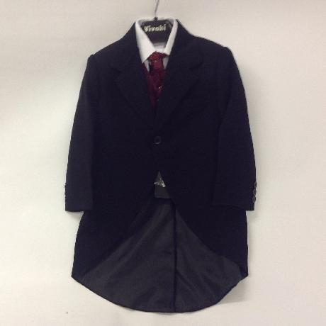 NOVINKA - oblek pro chlapce, burgundy, frak, 68