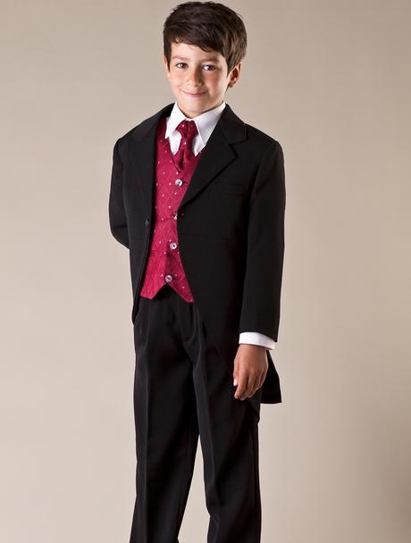 NOVINKA - oblek pro chlapce, burgundy, frak, 86