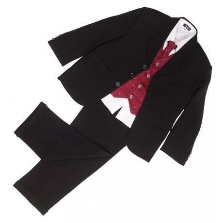 NOVINKA - oblek pro chlapce, burgundy, frak, 92