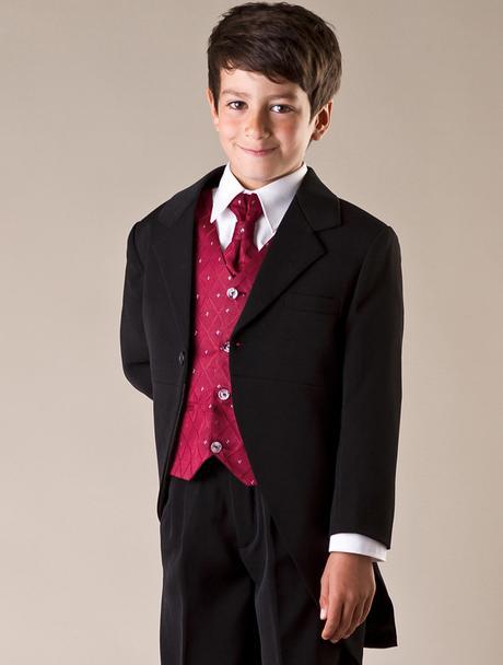 NOVINKA - oblek pro chlapce, burgundy, frak, 98