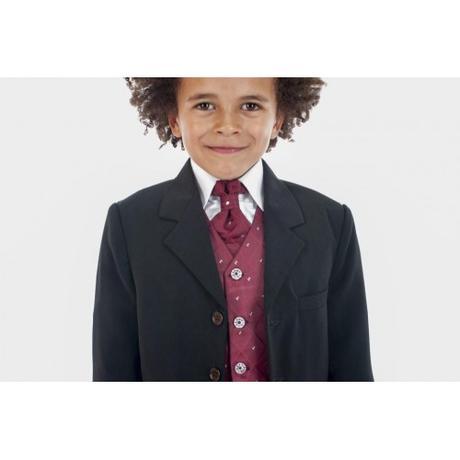NOVINKA - oblek pro chlapce, burgundy, vínový, 134