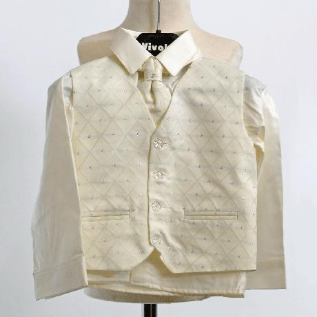 NOVINKA - oblek pro chlapce k prodeji, ivory a čer, 98