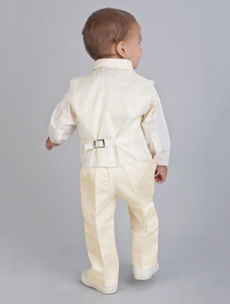 NOVINKA - oblek pro chlapce k prodeji, ivory a čer, 128
