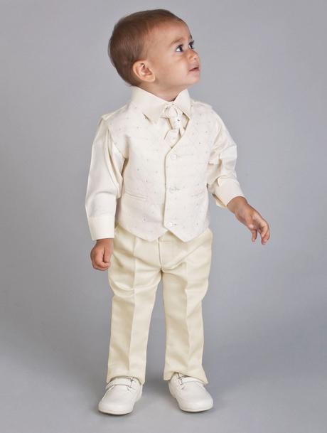 NOVINKA - oblek pro chlapce k prodeji, ivory a čer, 116