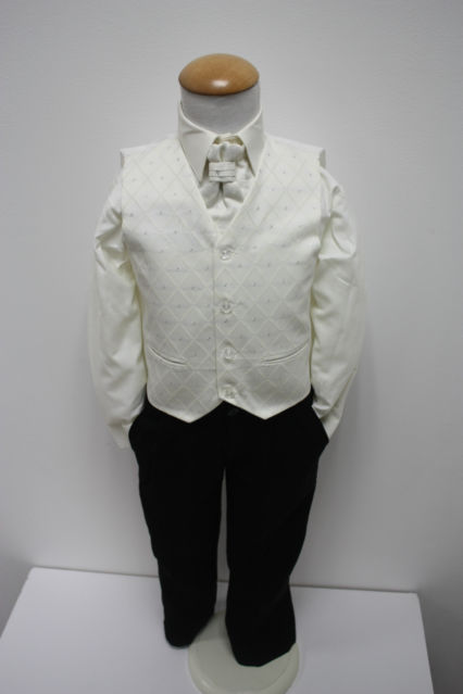 NOVINKA - oblek pro chlapce k prodeji, ivory a čer, 134