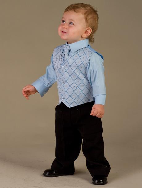 NOVINKA - oblek pro chlapce, modrý oblek, frak, 116