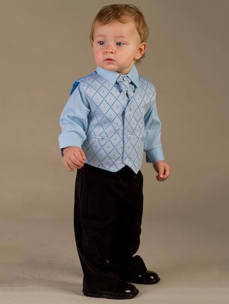 NOVINKA - oblek pro chlapce, modrý oblek, frak, 110