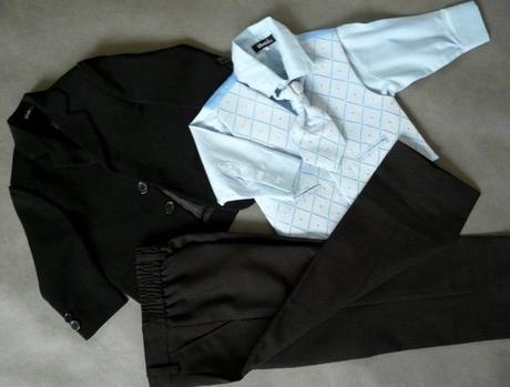 NOVINKA - oblek pro chlapce, modrý oblek, frak, 128