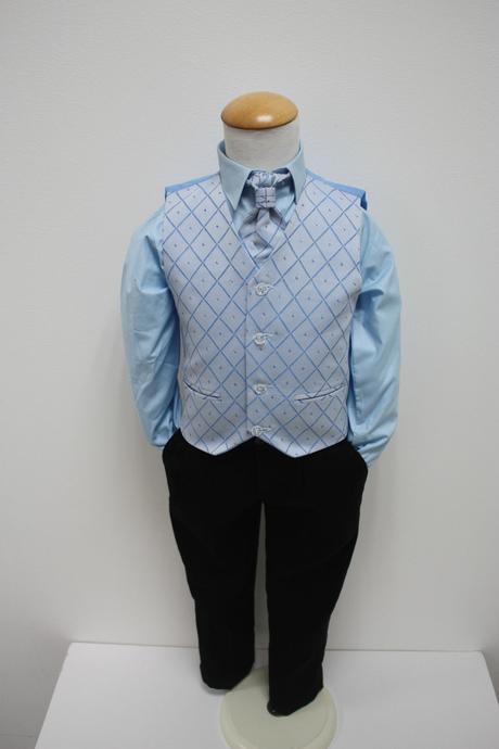 NOVINKA - oblek pro chlapce, modrý oblek, frak, 164