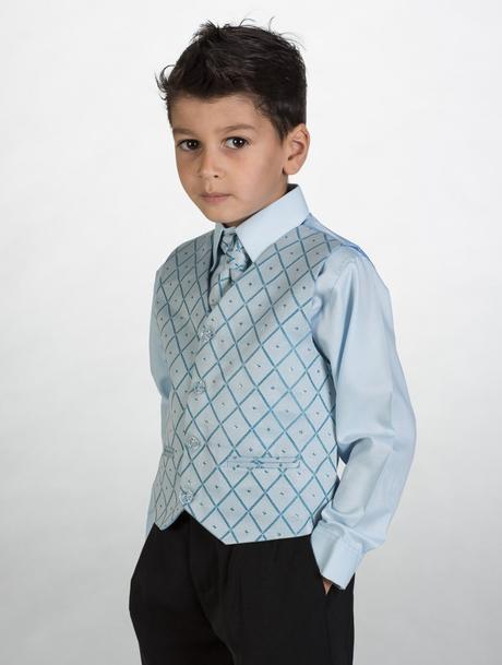 NOVINKA - oblek pro chlapce, modrý oblek, frak, 98