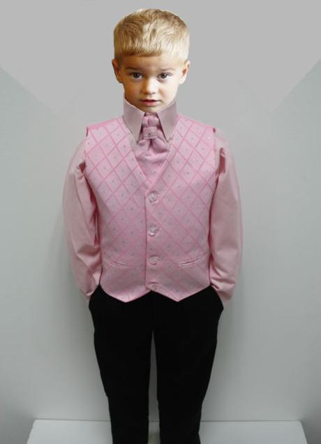 NOVINKA - oblek pro chlapce, růžový, FRAK, 116
