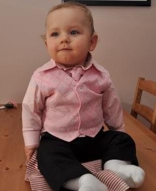 NOVINKA - oblek pro chlapce, růžový, FRAK, 128