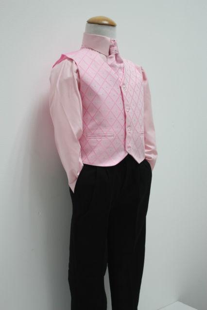 NOVINKA - oblek pro chlapce, růžový, FRAK, 152