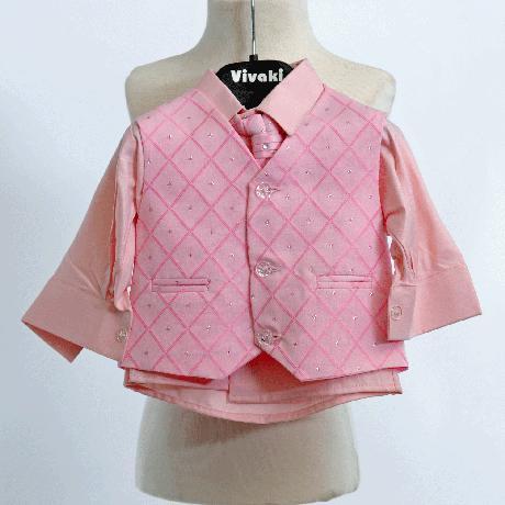NOVINKA - oblek pro chlapce, růžový se sakem, 110