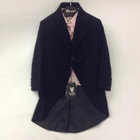 NOVINKA - oblek pro chlapce, růžový se sakem, 146