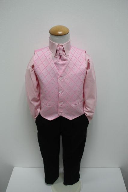 NOVINKA - oblek pro chlapce, růžový se sakem, 164