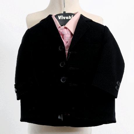 NOVINKA - oblek pro chlapce, růžový se sakem, 98