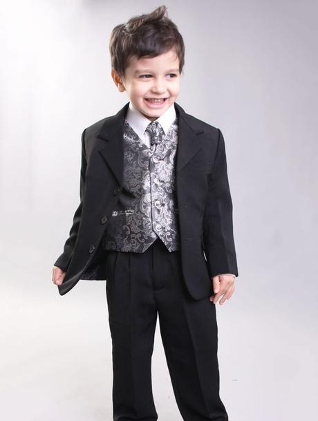 NOVINKA - oblek pro chlapce, stříbrný, sako, 104