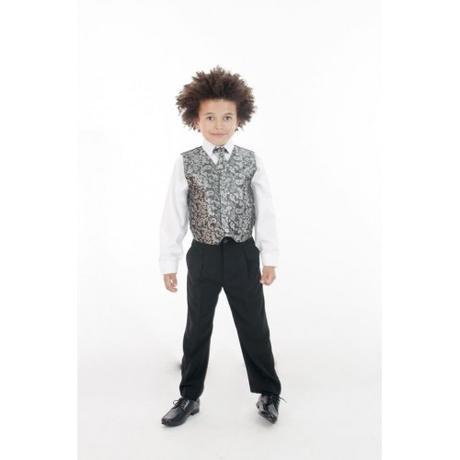 NOVINKA - oblek pro chlapce, stříbrný, sako, 122