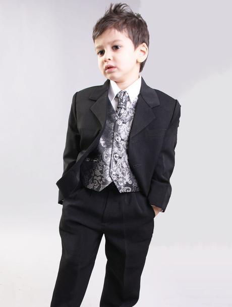 NOVINKA - oblek pro chlapce, stříbrný, sako, 134