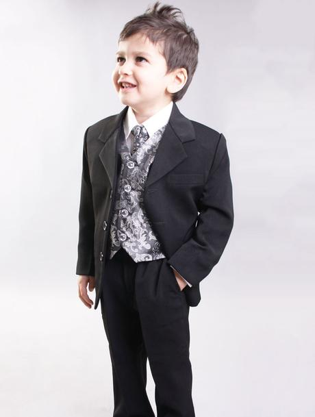 NOVINKA - oblek pro chlapce, stříbrný, sako, 74