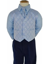 NOVINKA - oblek pro chlapce, světle modrý, FRAK, 134