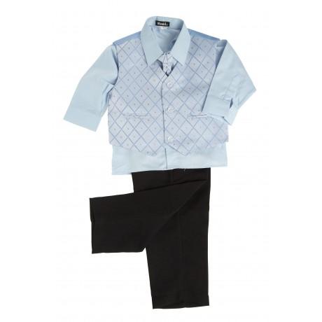 NOVINKA - oblek pro chlapce, světle modrý, FRAK, 128