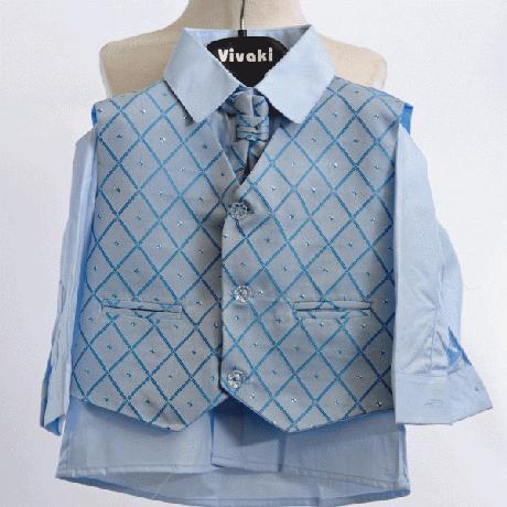 NOVINKA - oblek pro chlapce, světle modrý, sako, 140