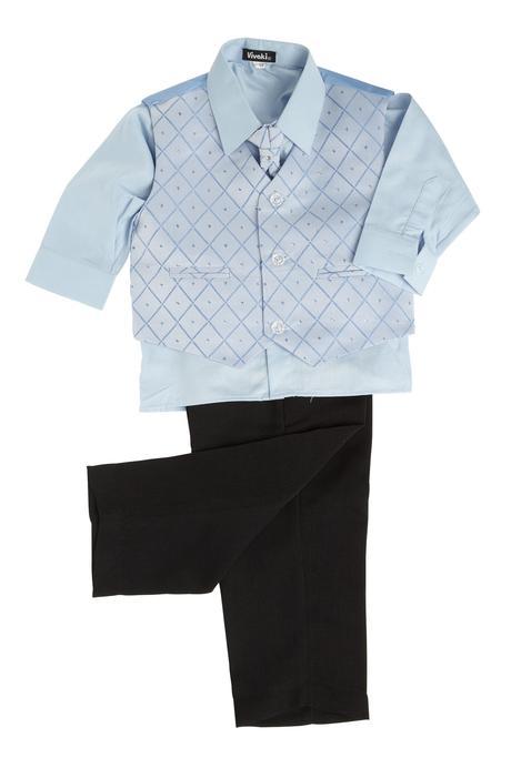NOVINKA - oblek pro chlapce, světle modrý, sako, 158