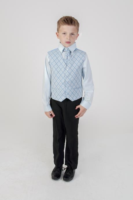 NOVINKA - oblek pro chlapce, světle modrý, sako, 116