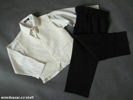 NOVINKA - oblek pro miminko k prodeji, ivory, čern, 128