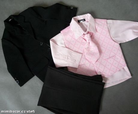 NOVINKA - oblek pro miminko, růžový se sakem, 68
