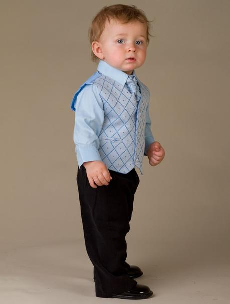 NOVINKA - oblek pro miminko, světle modrý, frak, 62