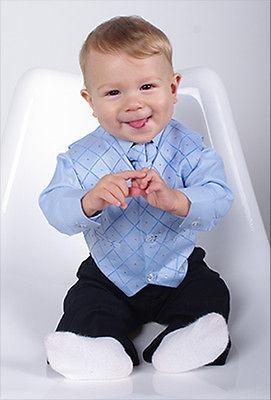 NOVINKA - oblek pro miminko, světle modrý, frak, 74