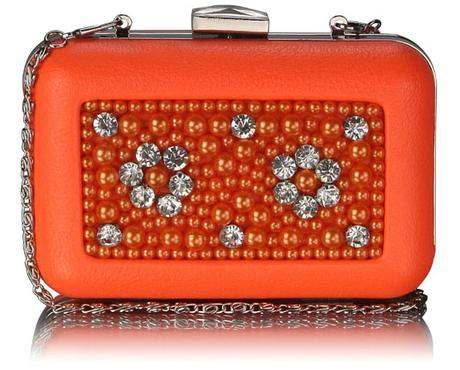 NOVINKA - oranžová společenská kabelka,