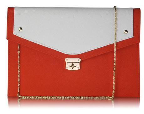 NOVINKA - oranžovo bílá kabelka, psaníčko,