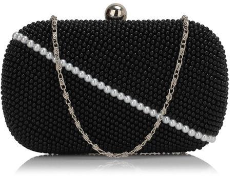 NOVINKA - perličková bílo-černá kabelka,