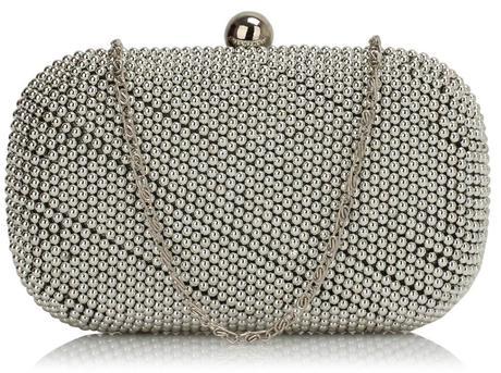 NOVINKA - perličková stříbrná kabelka,