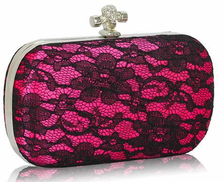 NOVINKA - růžovo-černé krajkové lodičky, kabelka, 38