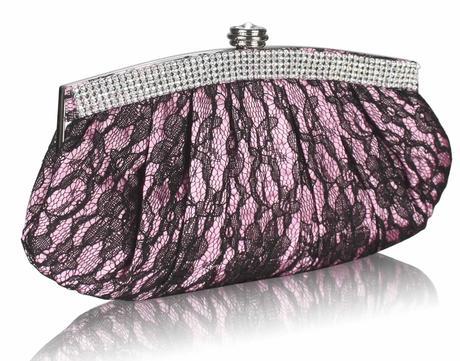 NOVINKA - růžovo-černé krajkové lodičky, kabelka, 41