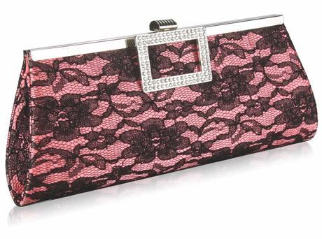 NOVINKA - růžovo-černé krajkové lodičky, kabelka, 37