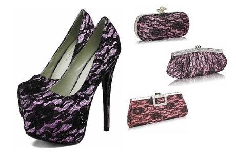 NOVINKA - růžovo-černé krajkové lodičky, kabelka, 40